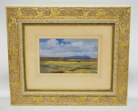 FRAMED LANDSCAPE OIL PAINTING. ARTIST INITIALED LOWER RIGHT. 10 7/8 X 6 5/8 INCH