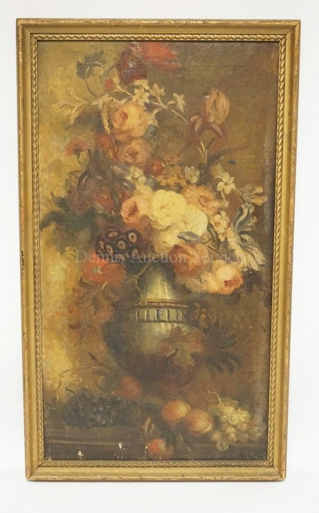 ANTIQUE OIL PAINTING ON CANVAS OF A FLOWER FILLED URN. EXHIBITION LABEL ON VERSO
