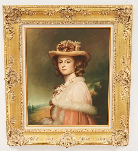 PORTRAIT OIL PAINTING ON CANVAS OF A YOUNG LADY WEARING A HAT. SIGNED LOWER RIGH