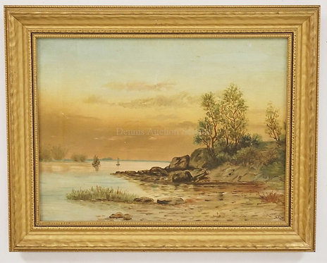 ANTIQUE OIL PAINTING ON CANVAS OF A SHORE LINE WITH BOATS IN THE DISTANCE. INITI