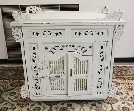 CARVED ASIAN DISPLAY CABINET. PAINTED WHITE. 39 1/4 INCHES WIDE. 26 1/2 INCHES D