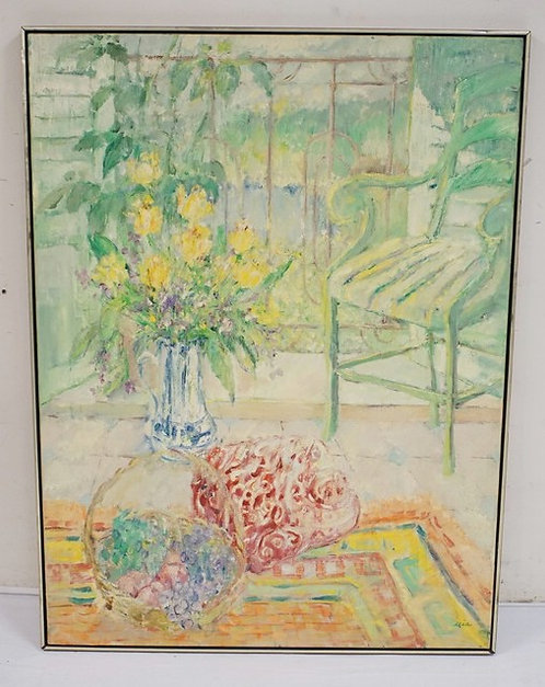 LARGE OIL PAINTING ON CANVAS SIGNED *MIA*. 36 X 48 1/2 INCHES.