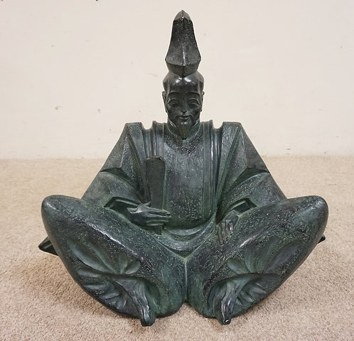 CERAMIC SCULPTURE OF A SEATED ASIAN MAN, 25 INCHES HIGH.