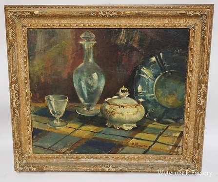 STILL LIFE OIL PAINTING ON CANVAS OF A TABLECLOTH WITH A DECANTER AND WINE GLASS
