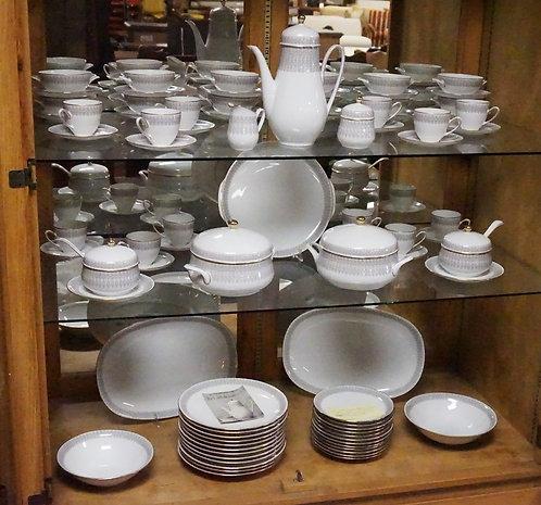 72 PIECE HUTSCHENREUTHER *OLIVIA SENATE* DINNERWARE SET. PLATTERS ARE 15 INCHES.