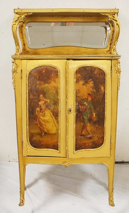 PAINT DECORATED VERNIS MARTIN STYPE CABINET HAVING A RAISED SHELF OVER A MIRRORE