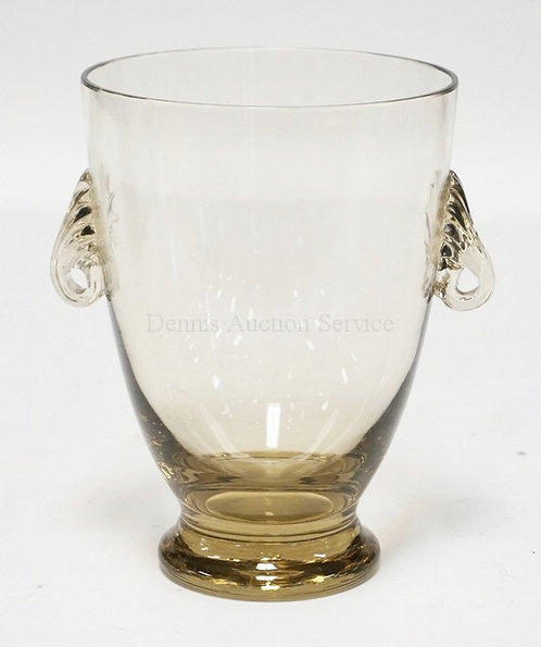 KOSTA SWEDEN ART GLASS VASE WITH APPLIED REEDED HANDLES. 6 1/2 INCHES HIGH.