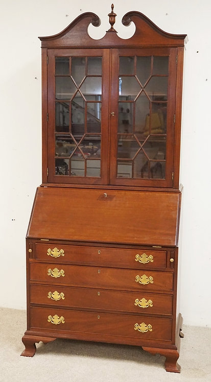 MAHOGANY SECRETARY DESK BY BIGGS. 85 INCHES HIGH. 36 INCHES WIDE.