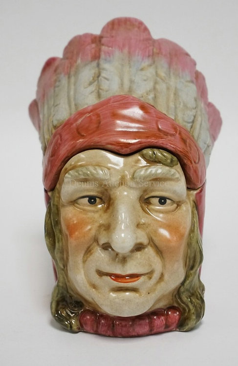 FIGURAL PORCELAIN TOBACCO JAR IN THE FORM OF A NATIVE AMERICAN INDIAN CHIEF. 6 7