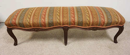 """FRENCH STYLE UPHOLSTERED WINDOW BENCH WITH CARVED SKIRT AND CABROILE LEGS. 59"""" W"""