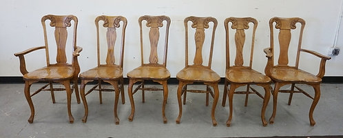 SET OF 6 CARVED OAK CHAIRS. 2 ARM AND 4 SIDE