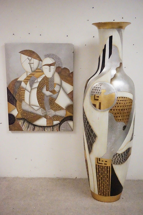 VERY LARGE CERAMIC FLOOR VASE WITH MATCHING ARTWORK. VASE MEASURES 72 INCHES HIG