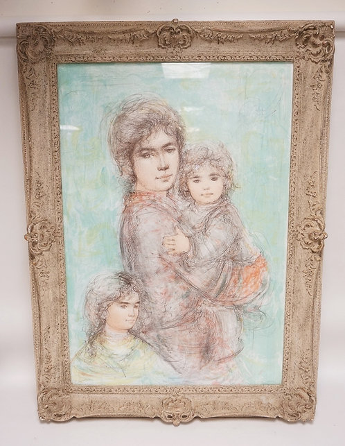 EDNA HIBEL PENCIL SIGNED AND NUMBERED LIMITED EDITION PRINT OF A WOMAN AND TWO C