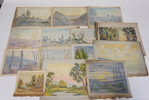 LOT OF 14 OIL PAINTINGS ON CANVAS OF LANDSCAPES. UNSIGNED. LARGEST IS 8 X 11 INC