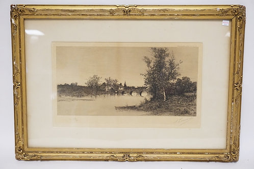 PENCIL SIGNED ETCHING OF A LANDSCAPE WITH A STONE BRIDGE OVER A WATERWAY. 29 X 2