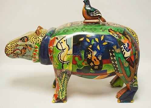LARGE HAND CARVED AND PAINTED HIPPO. HOLLOW INTERIOR WITH A REMOVABLE PANEL UNDE