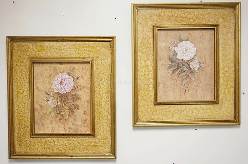 PAIR OF FLORAL PRINTS. 32 1/4 X 28 1/4 INCHES.