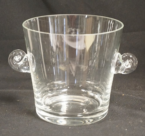 TIFFANY & CO CRYSTAL ICE BUCKET WITH APPLIED HANDLES. 6 INCHES HIGH.