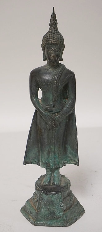 ASIAN BRONZE FIGURE STANDING 9 1/2 INCHES HIGH.