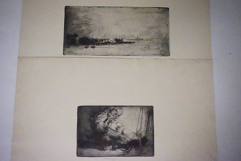 LOT OF 2 ETCHINGS BY ALLEN LEWIS (1873-1957) *LOWER NEW YORK* 86 X 177 MM. AND *