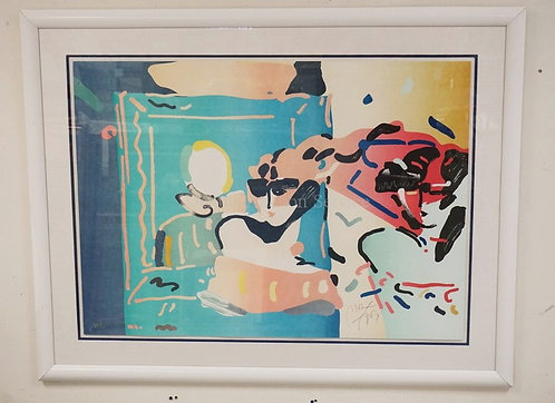 PETER MAX *LADY WITH DEGAS* LIMITED EDITION #66/75. W/EMBOSSED PETER MAX, NEW YO