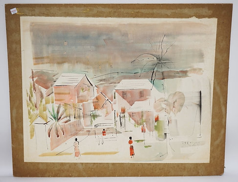 ALFRED BIRDSEY (BERMUDA, 1912-1996) WATERCOLOR PAINTING OF A TOWN NEAR THE OCEAN