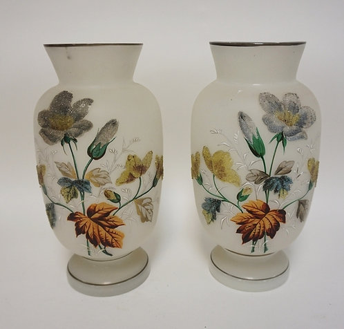 PAIR OF CORALENE DECORATED BRISTOL GLASS VASES. 10 1/2 INCHES HIGH. HAS A FEW RI