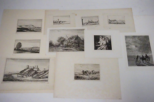 10 PIECE LOT OF ANTIQUE ETCHINGS. INCLUDES SEVERAL BY WENCESLAUS HOLLAR. LARGST