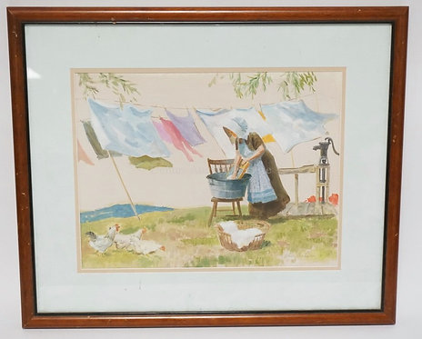 HENRY HARTMAN OIL ON PAPER TITLED *GOOD DRYING DAY*. 16 X 12 INCHES.