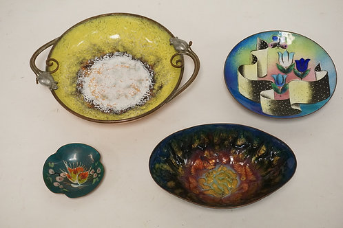 LOT OF 4 ENAMEL DECORATED COPPER PIECES. LARGEST IS 9 1/4 INCHES ACROSS.