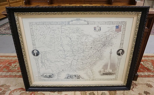 LARGE REPLICA MAP OF THE UNITED STATES IN 1850. IN A CARVED EBONIZED FRAME WITH