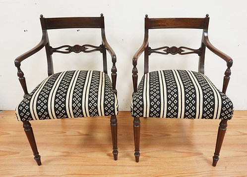 1021_PAIR OF MAHOGANY ARMCHAIRS WITH CARVED OPENWORK SLATS AND TURNED LEGS. 31 I