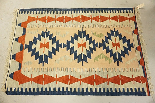 NATIVE AMERICAN INDIAN THROW RUG MEASURING 3 FT 10 INCHES X 5 FT 6 INCHES.