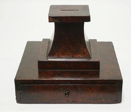 ANTIQUE MAHOGANY BALLOT BOX. 9 3/4 X 10 INCH BASE. 8 INCHES HIGH. HAS SOME VENEE