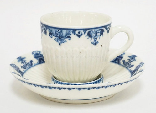 1013_18TH CENTURY ST CLOUD FRENCH TREMBLEUSE CUP & SAUCER IN BLUE & WHITE. 5 3/8