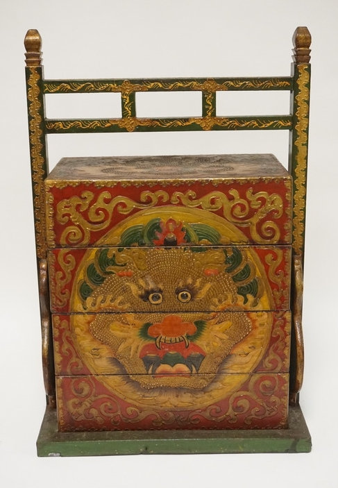 ASIAN STACKING BOX WITH FRAME. POLYCHROME DECORATED WITH DRAGONS. 25 INCHES HIGH