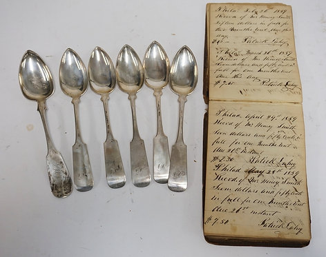 LOT OF 6 ANTIQUE COIN SILVER TABLE SPOONS MEASURING APPROX 9 INCHES LONG. ACCOMP