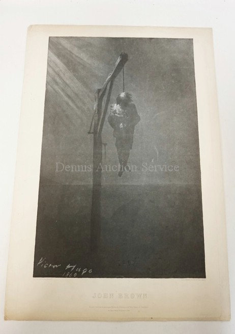 PRINT BY VICTOR HUGO TITLED JOHN BROWN. DATED 1860. IMAGE IS 13 IN X 20 1/2 IN