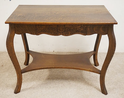 OAK LIBRABRY TABLE WITH ONE DRAWER. 36 X 24 1/4 INCH TOP.