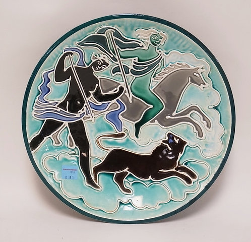 MID CENTURY MODERN POTTERY BOWL WITH RAISED DESIGNS OF HUNTERS ON HORSEBACK AFTE