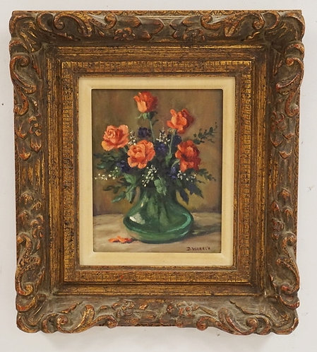 OIL PAINTING ON BOARD. STILL LIFE OF FLOWERS IN A VASE. SIGNED LOWER RIGHT *D. W