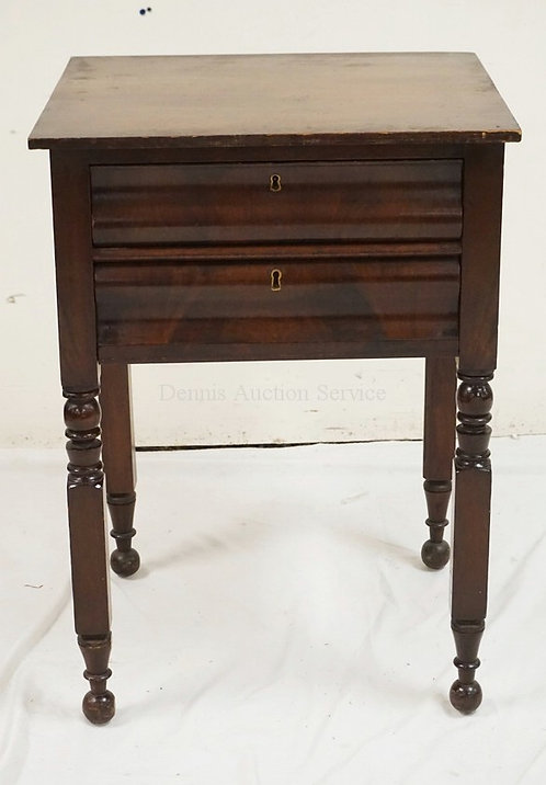ANTIQUE MAHOGANY 2 DRAWER STAND WITH TURNED LEGS. 20 1/2 INCHES WIDE. 28 INCHES