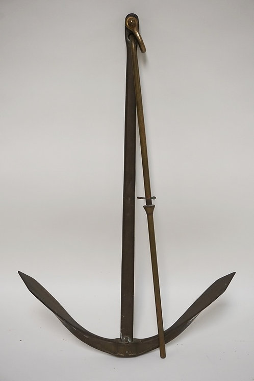 1164_OLD BRASS ANCHOR MEASURING 27 INCHES LONG. 16 1/4 INCHES POINT TO POINT.