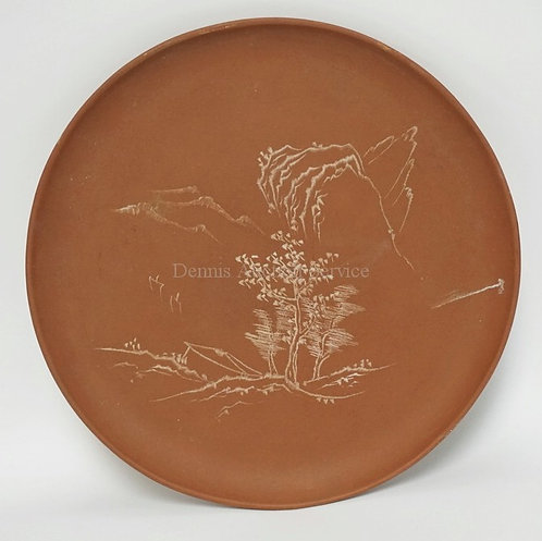 CHINESE YIXING CLAY TRAY DECORATED WITH TREES AND MOUNTAINS. 10 1/4 INCHES. CHOP