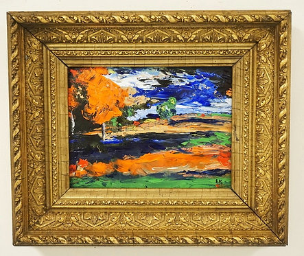ERIC KAHN OIL PAINTING ON BOARD OF A COLORFUL LANDSCAPE. ORNATE GOLD GILT FRAME.