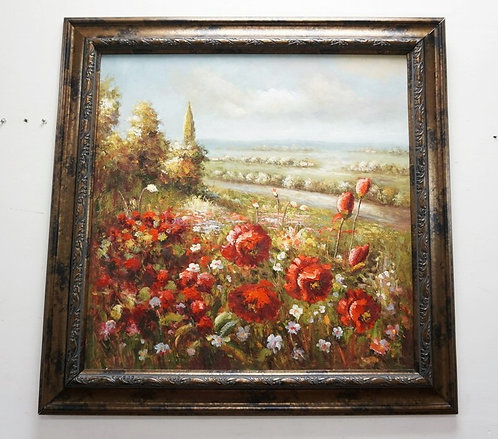 LARGE CONTEMPORARY OIL PAINTING ON CANVAS OF POPPIES. SIGHT SIZE IS 35 INCHES SQ