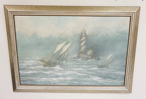 OIL PAINTING ON CANVAS OF A SAILBOAT AT SEA NEAR A LIGHTHOUSE. SIGNED LOWER RIGH
