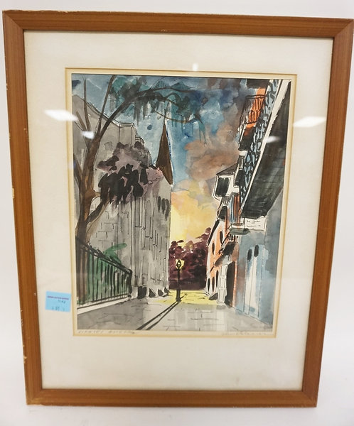 PENCIL SIGNED PRINT OF A NEW ORLEANS STREET. 10 1/4 IN X 12 3/4 IN. FRAMED