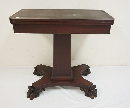 EMPIRE MAHOGANY FLIP TOP GAME TABLE WITH LARGE CARVED PAW FEET.