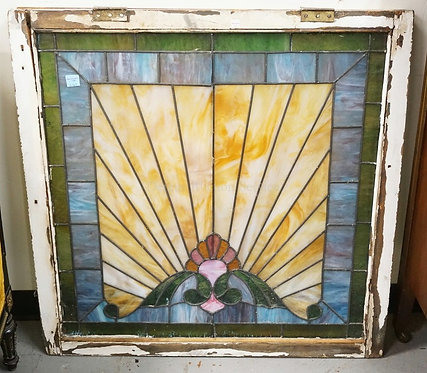ANTIQUE LEADED GLASS WINDOW MEASURING 37 INCHES SQUARE. SOME OF THE GLASS IS LOO